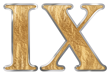 Roman numeral IX, novem, 9, nine,  isolated on white background, 3d render