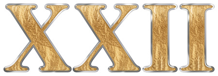 Roman numeral XXII, duo et viginti, 22, twenty two, isolated on white background, 3d render 写真素材