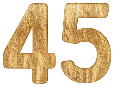 Numeral 45, forty five, isolated on white background, 3d render Stock Photo