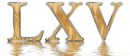 Numeral 65, sixty five, reflected on the water surface, isolated on  white, 3d render Stock Photo