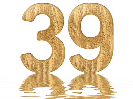Numeral 39, thirty nine, reflected on the water surface, isolated on  white, 3d render Imagens