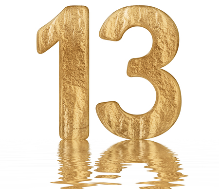 Numeral 13, thirteen, reflected on the water surface, isolated on  white, 3d render Stok Fotoğraf
