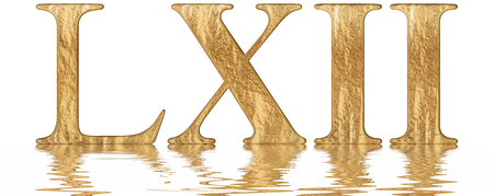 Roman numeral LXII, duo et sexaginta, 62, sixty two, reflected on the water surface, isolated on  white, 3d render