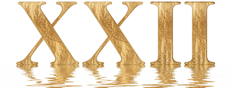 Roman numeral XXII, duo et viginti, 22, twenty two, reflected on the water surface, isolated on  white, 3d render 写真素材
