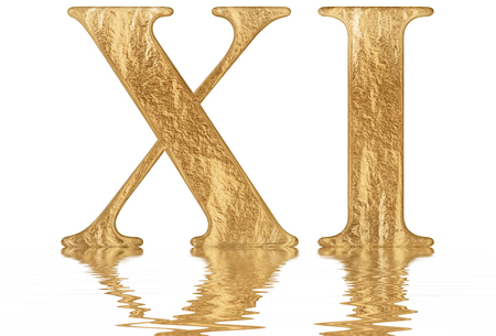 Roman numeral XI, undecim, 11, eleven, reflected on the water surface, isolated on  white, 3d render Фото со стока