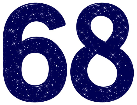 Numeral 68, sixty eight, star sky texture imitation, isolated on white background, 3d render