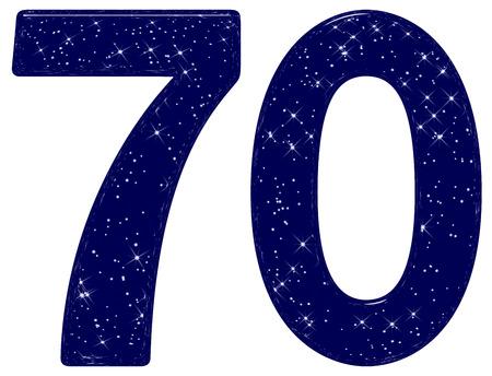 Chiffre 70, soixante-dix, imitation de texture de ciel étoilé, isolé sur fond blanc, rendu 3d