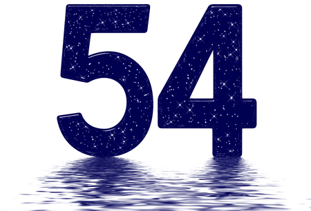 Numeral 54, fifty four, star sky texture imitation, reflected on the water surface, isolated on white, 3d render