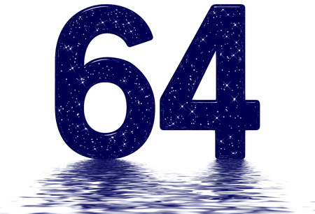 Numeral 64, sixty four, star sky texture imitation, reflected on the water surface, isolated on white, 3d render