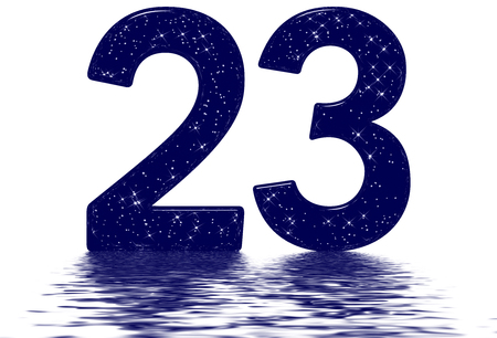 Numeral 23, twenty three, star sky texture imitation, reflected on the water surface, isolated on white, 3d render Фото со стока