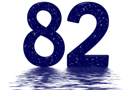Numeral 82, eighty two, star sky texture imitation, reflected on the water surface, isolated on white, 3d render