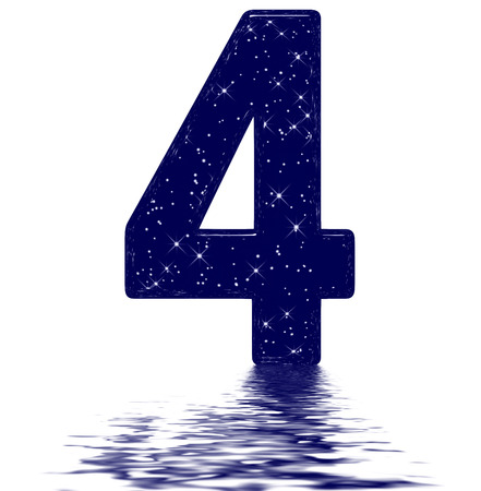 Numeral 4, four, star sky texture imitation, reflected on the water surface, isolated on white, 3d render