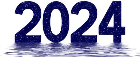 Inscription 2024, star sky texture imitation, star sky texture imitation, reflected on the water surface, isolated on white, 3d render
