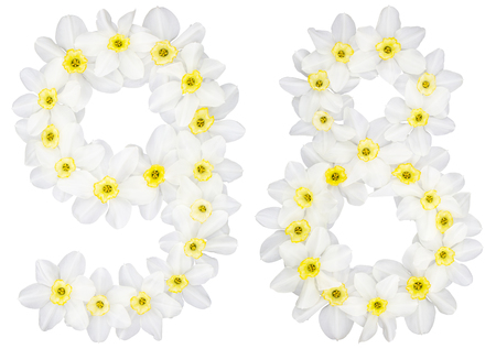 Numeral 98, ninety eight, from natural white flowers of Daffodil (narcissus), isolated on white background