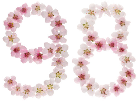 Numeral 98, ninety eight, from natural pink flowers of peach tree, isolated on white background Фото со стока
