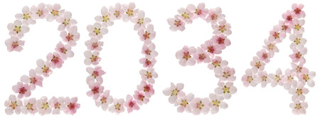 Inscription 2034, from natural pink flowers of peach tree, isolated on white background
