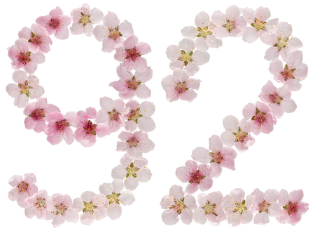 Numeral 92, ninety two, from natural pink flowers of peach tree, isolated on white background