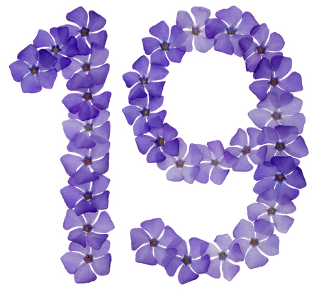 Numeral 19, nineteen, from natural blue flowers of periwinkle, isolated on white background