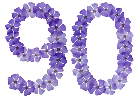 Numeral 90, ninety, from natural blue flowers of periwinkle, isolated on white background