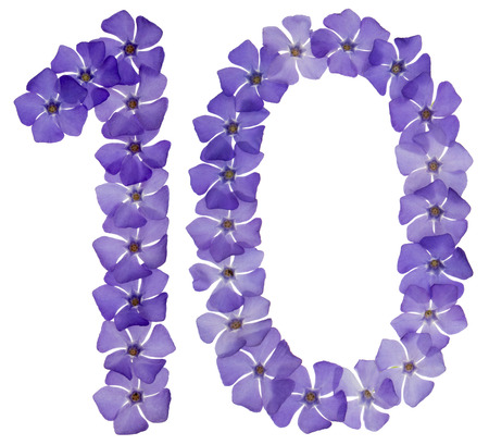 Numeral 10, ten, from natural blue flowers of periwinkle, isolated on white background