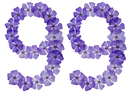 Numeral 99, ninety nine, from natural blue flowers of periwinkle, isolated on white background