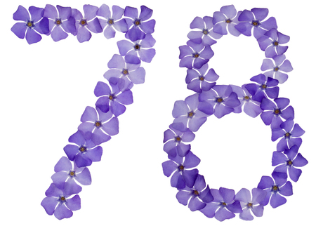 Numeral 78, seventy eight, from natural blue flowers of periwinkle, isolated on white background 免版税图像