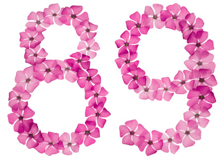 Numeral 89, eighty nine, from natural pink flowers of periwinkle, isolated on white background 免版税图像