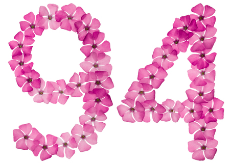 Numeral 94, ninety four, from natural pink flowers of periwinkle, isolated on white background Stock Photo