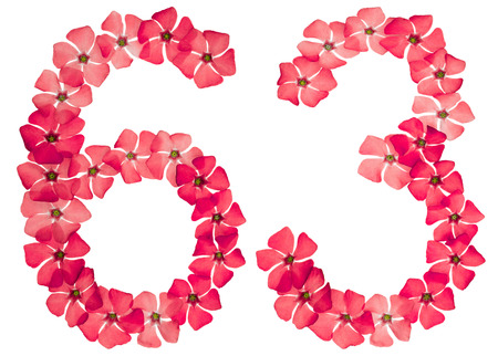 Numeral 63, sixty three, from natural red flowers of periwinkle, isolated on white background Stock Photo