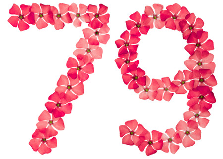 Numeral 79, seventy nine, from natural red flowers of periwinkle, isolated on white background