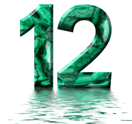 Arabic numeral 12, twelve, from natural green malachite, reflected on the water surface, isolated on white, 3d render