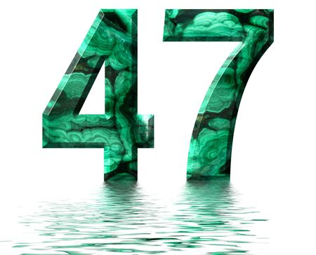 Arabic numeral 47, forty seven, from natural green malachite, reflected on the water surface, isolated on white, 3d render