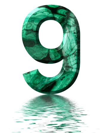 Arabic numeral 9, nine, from natural green malachite,, reflected on the water surface, isolated on white, 3d render