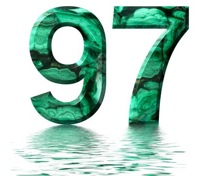 Arabic numeral 97, ninety seven, from natural green malachite, reflected on the water surface, isolated on white, 3d render