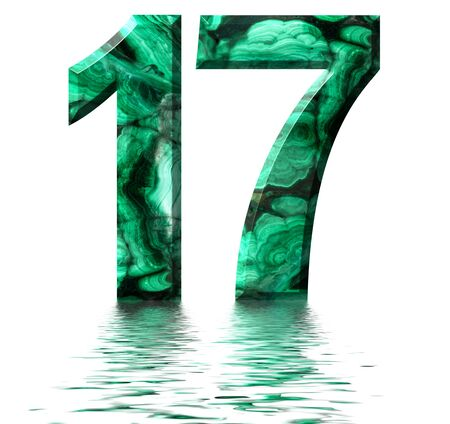 Arabic numeral 17, seventeen, from natural green malachite, reflected on the water surface, isolated on white, 3d render