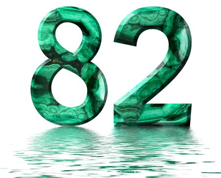 Arabic numeral 82, eighty two, from natural green malachite, reflected on the water surface, isolated on white, 3d render