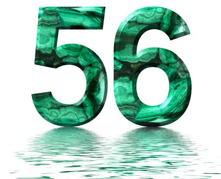 Arabic numeral 56, fifty six, from natural green malachite, reflected on the water surface, isolated on white, 3d render