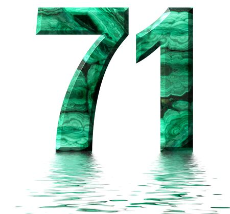 Arabic numeral 71, seventy one, from natural green malachite, reflected on the water surface, isolated on white, 3d render Stockfoto