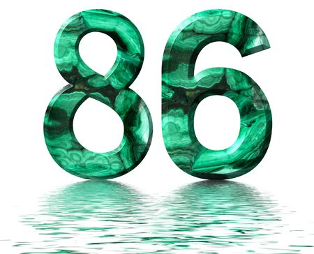 Arabic numeral 86, eighty six, from natural green malachite, reflected on the water surface, isolated on white, 3d render Stockfoto