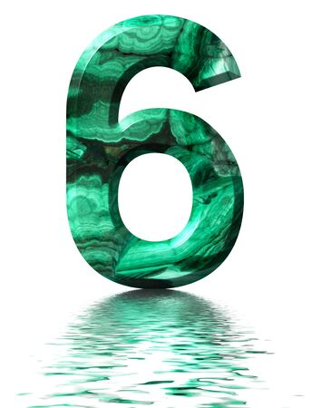 Arabic numeral 6, six,  from natural green malachite, reflected on the water surface, isolated on white, 3d render Stockfoto