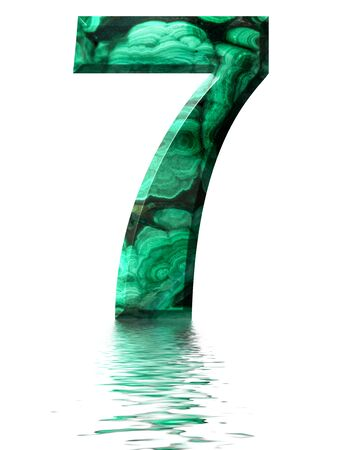 Arabic numeral 7, seven, from natural green malachite, reflected on the water surface, isolated on white, 3d render