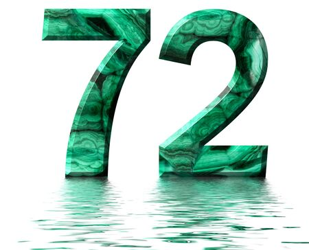 Arabic numeral 72, seventy two, from natural green malachite, reflected on the water surface, isolated on white, 3d render