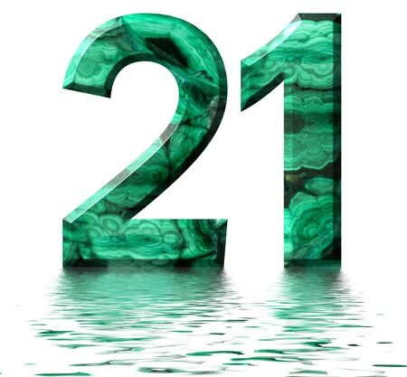 Arabic numeral 21, twenty one, from natural green malachite, reflected on the water surface, isolated on white, 3d render Stockfoto