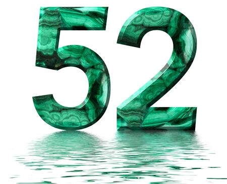 Arabic numeral 52, fifty two, from natural green malachite, reflected on the water surface, isolated on white, 3d render