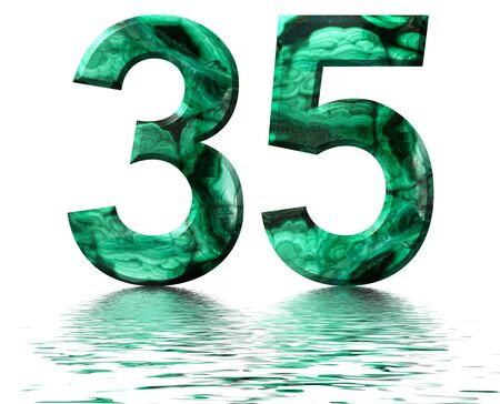 Arabic numeral 35, thirty five, from natural green malachite, reflected on the water surface, isolated on white, 3d render