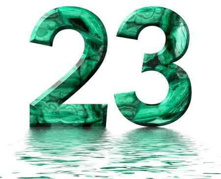 Arabic numeral 23, twenty three, from natural green malachite, reflected on the water surface, isolated on white, 3d render Stockfoto