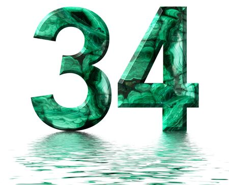 Arabic numeral 34, thirty four, from natural green malachite, reflected on the water surface, isolated on white, 3d render