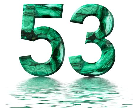 Arabic numeral 53, fifty three, from natural green malachite, reflected on the water surface, isolated on white, 3d render Stockfoto
