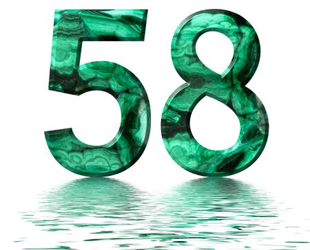 Arabic numeral 58, fifty eight, from natural green malachite, reflected on the water surface, isolated on white, 3d render