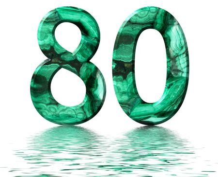 Arabic numeral 80, eighty, from natural green malachite, reflected on the water surface, isolated on white, 3d render